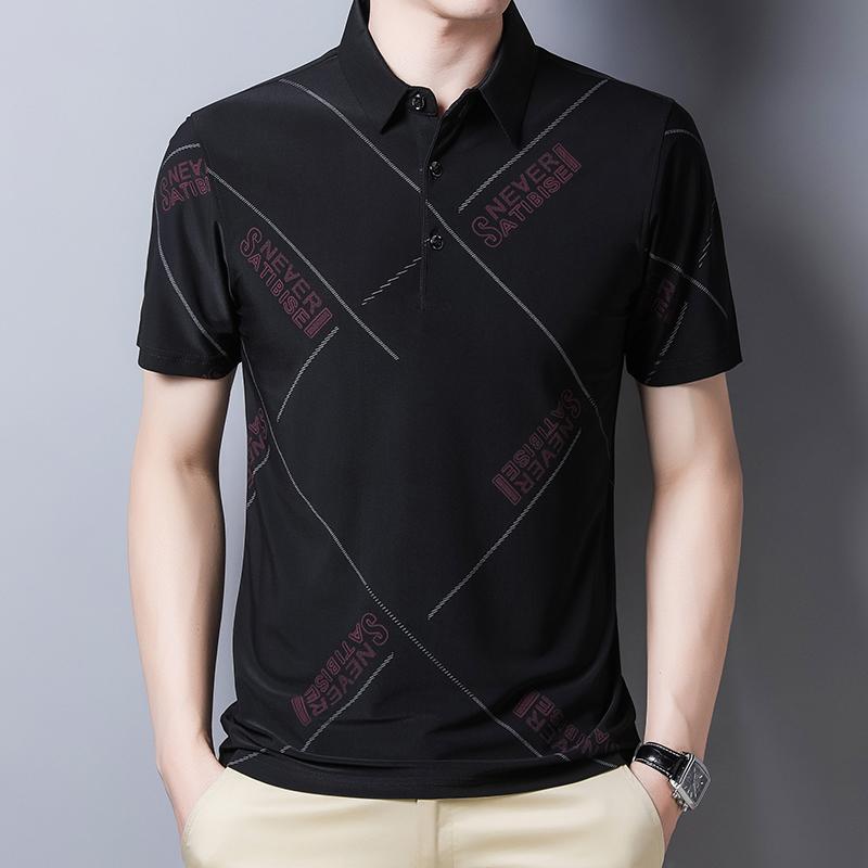 Mens short sleeve T-shirt summer thin mens Lapel T-shirt youth business casual ice silk polo shirt