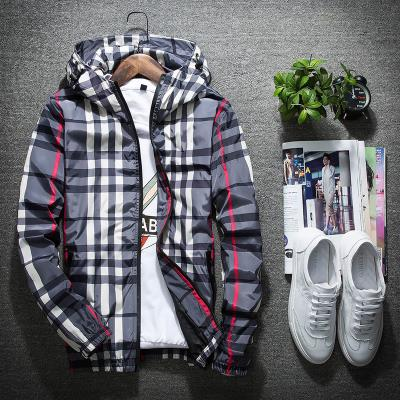 。 Korean clothes jacket Plaid double g layer with trendy COTTON HAT spring and autumn net year after year coat sports winter mens wear red