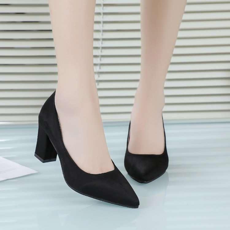 高档绒面磨砂粗跟鞋中跟3cm5女士高跟鞋尖头女鞋时尚百搭女性职业
