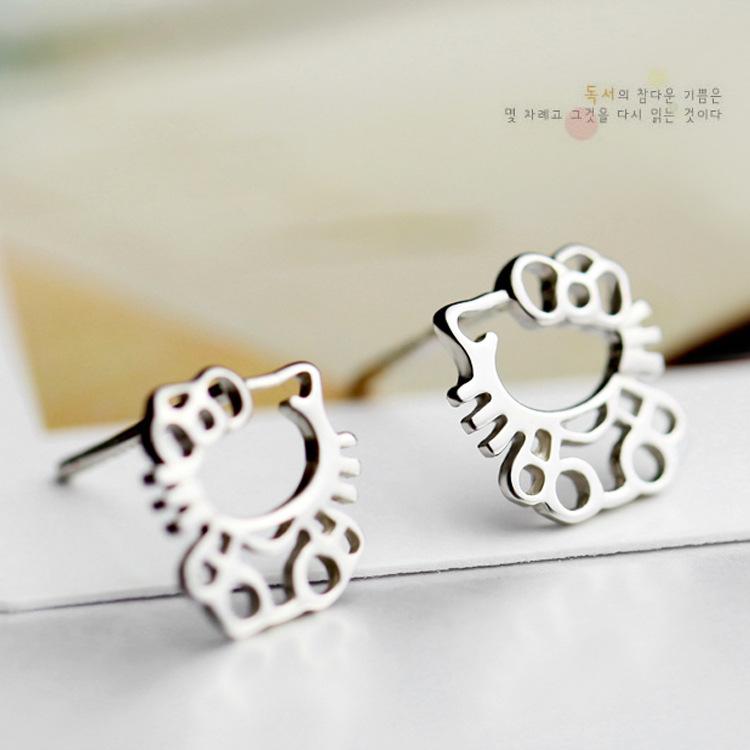 哎呀呀925纯银耳钉 韩国手工纯银饰品耳饰 可爱版Kitty猫耳环