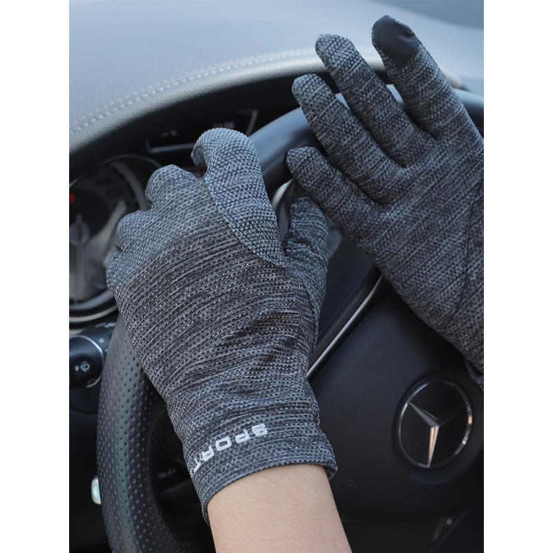 High end ultra-thin driving gloves mens ice silk summer sports riding anti-skid driving breathable quick drying touch screen spring and Autumn