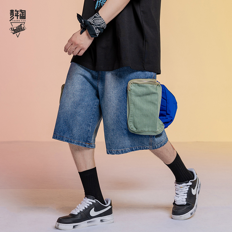 Youth Amoy color contrast pocket tooling shorts drawstring straight tube loose jeans Capris versatile color matching casual pants for men