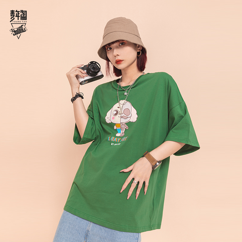 Young Amoy new kaws doll printed T-shirt lovers loose trend short sleeve mens fashion