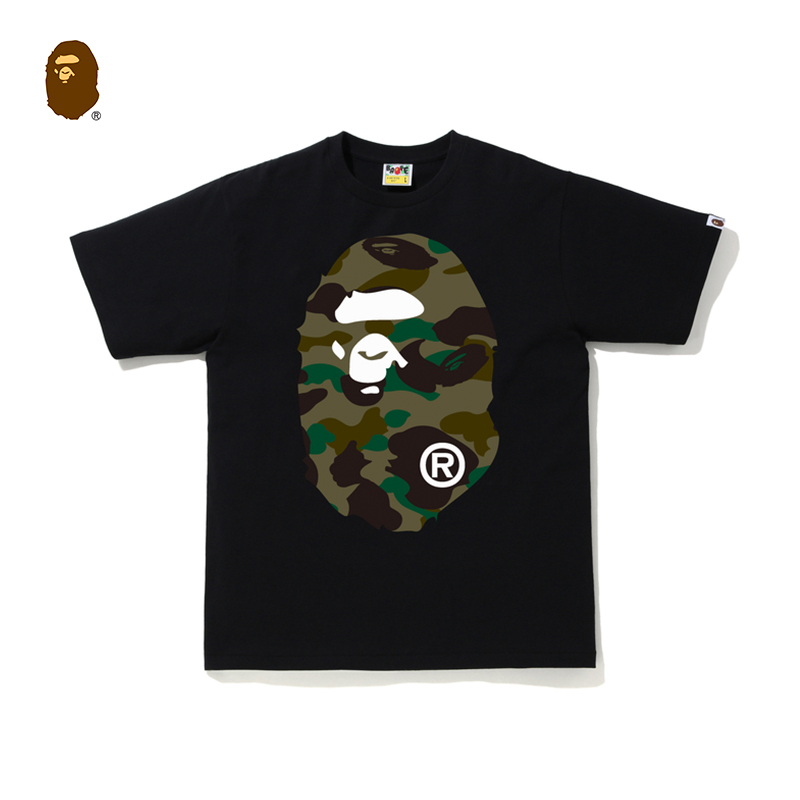 BAPE男裝春夏迷彩猿人頭印花圖案純色簡約短袖T恤110010G