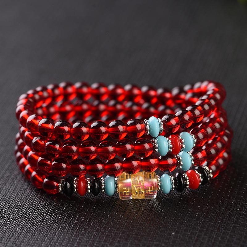 幽曼108佛珠手串红水晶石榴石紫水晶白玛瑙黑玛瑙首饰女手链