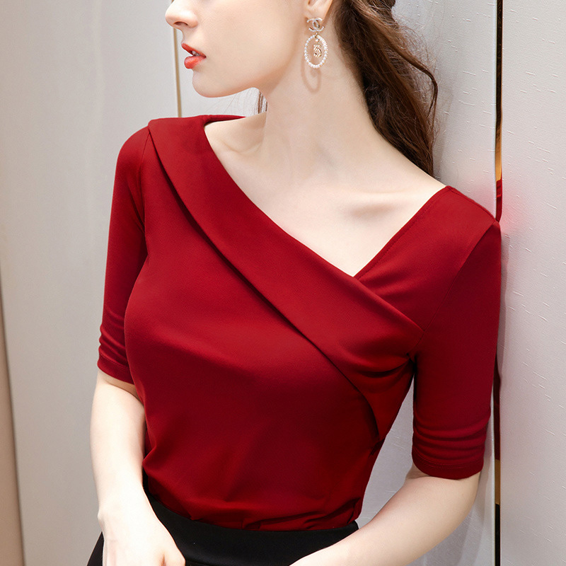 Slant collar mid sleeve T-shirt womens autumn new heart collar off shoulder heart machine top slim fit short style with half sleeve T-shirt
