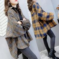 格子秋冬韩国复古中长款拼色衬衫用后评测