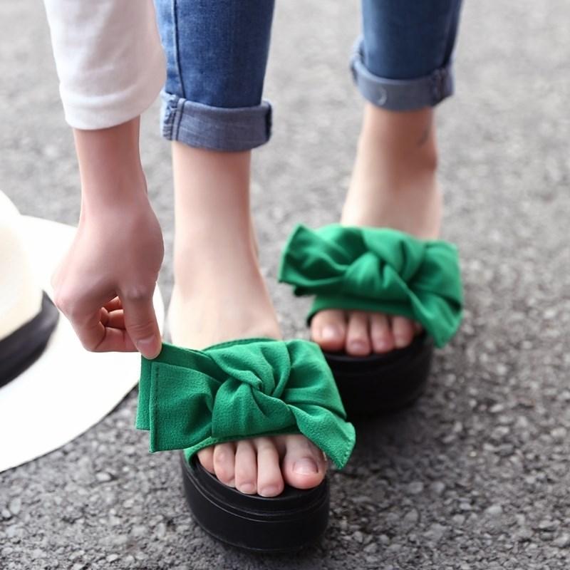 。2019女士女鞋夏季凉鞋拖鞋蝴蝶结百搭韩版学生厚底凉新款松糕