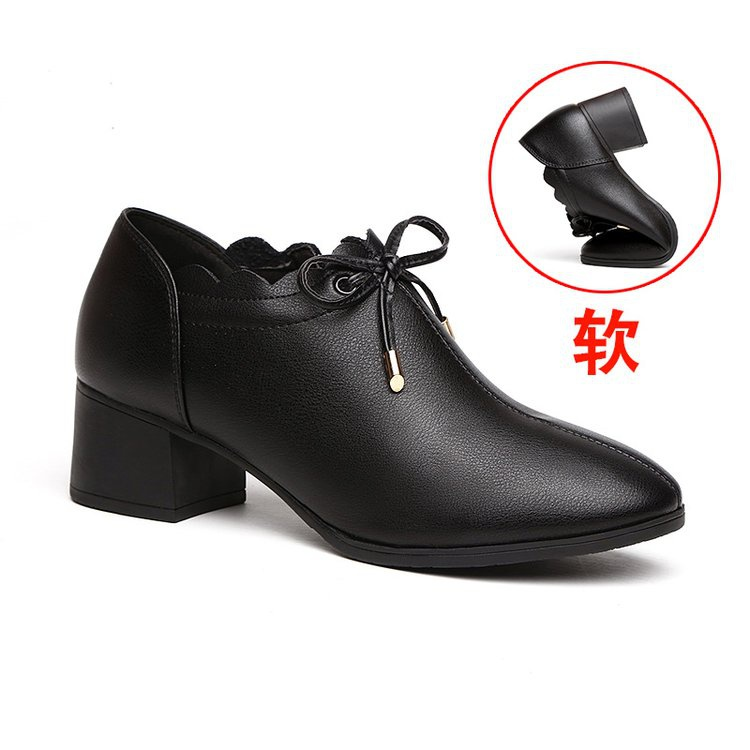。新款高跟鞋2021秋季单鞋跟跟女女士F黑色真皮粗透气中皮鞋