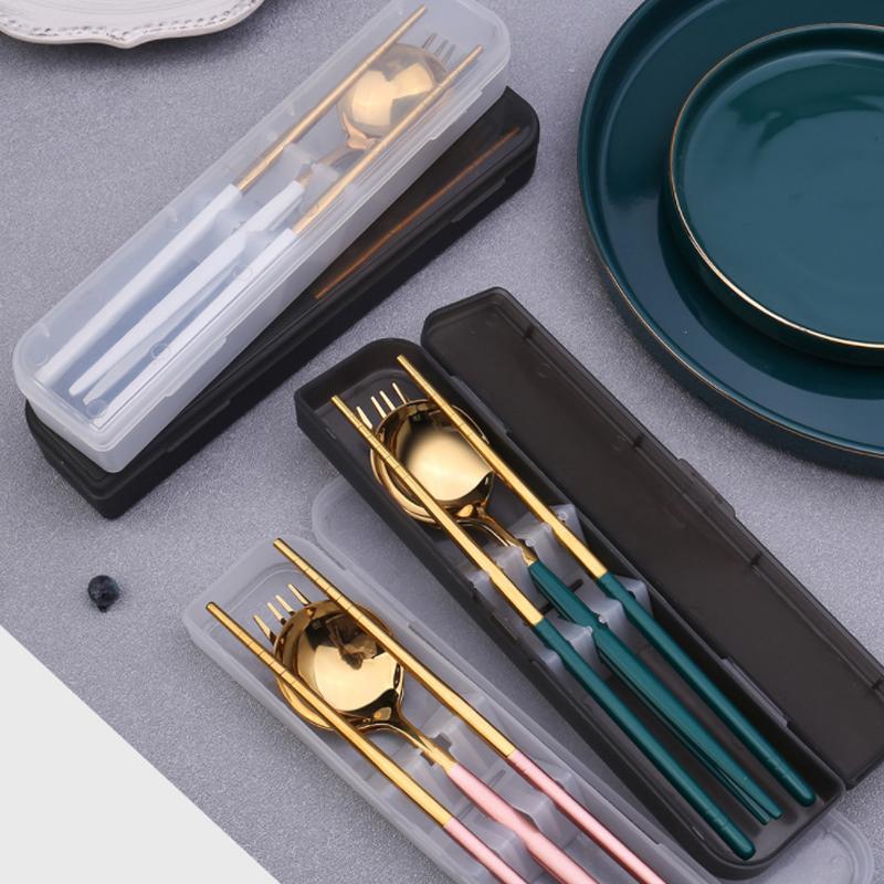 外带不锈钢便携餐具旅行装筷子勺子叉子三件套装学生户外家用上班图片
