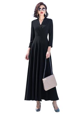 修身显瘦遮肉显高大摆长袖连衣裙