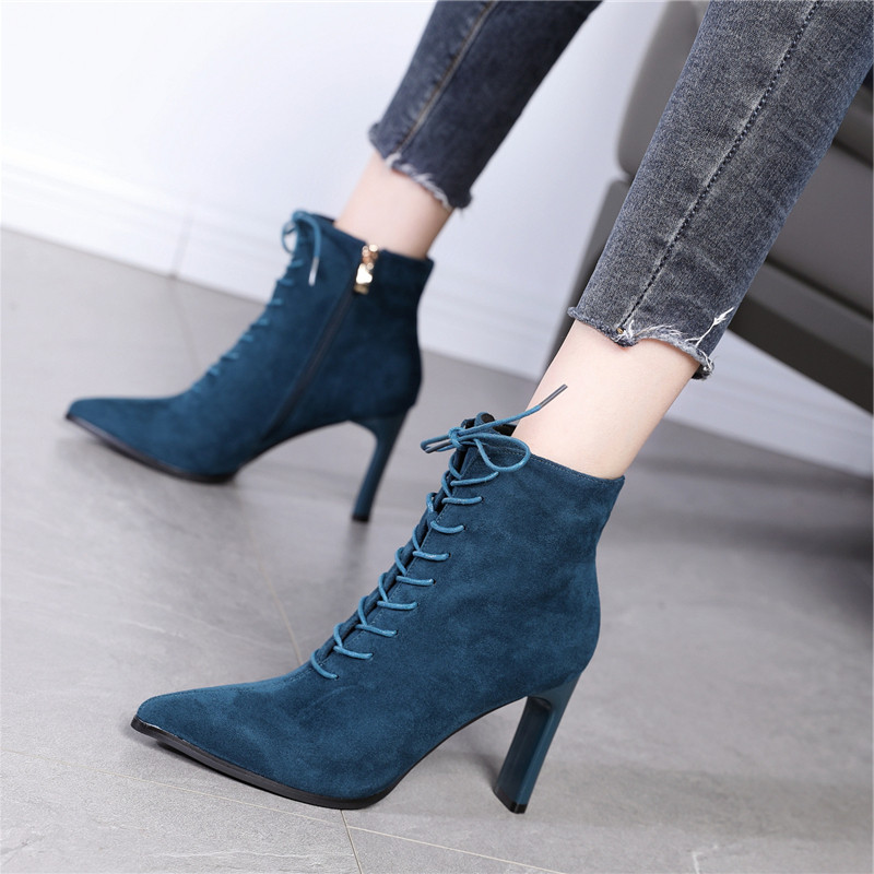 Side zipper anti slip thick heel cotton boots short lace up commuting ol Martin boots womens new winter 2020 suede high heels