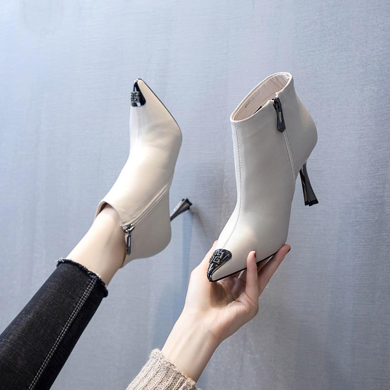 韩版金属头侧拉链金属尖头高跟靴时尚20冬季新款细跟马丁靴女短靴