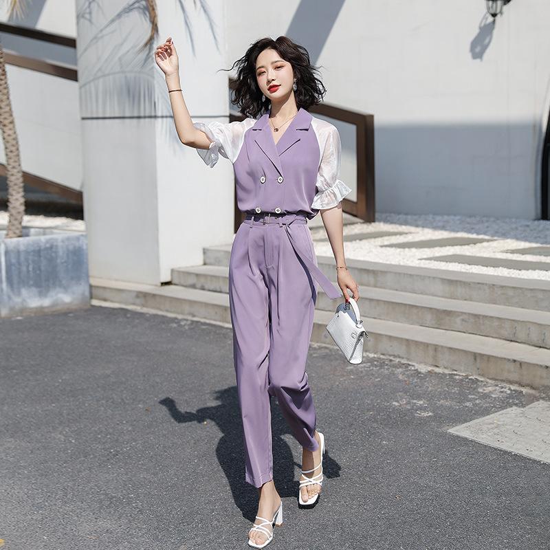 女装2020秋季新款气质轻熟小香风九分裤两件套套装女工作装修身