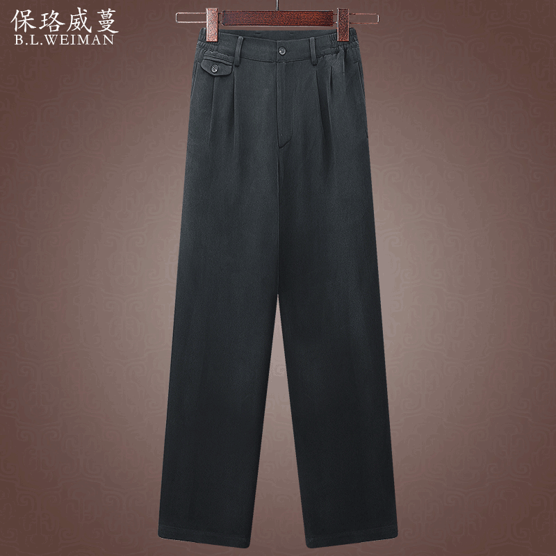 Heavy silk satin mens pants mulberry silk summer casual pants ice silk pants for middle-aged and old people
