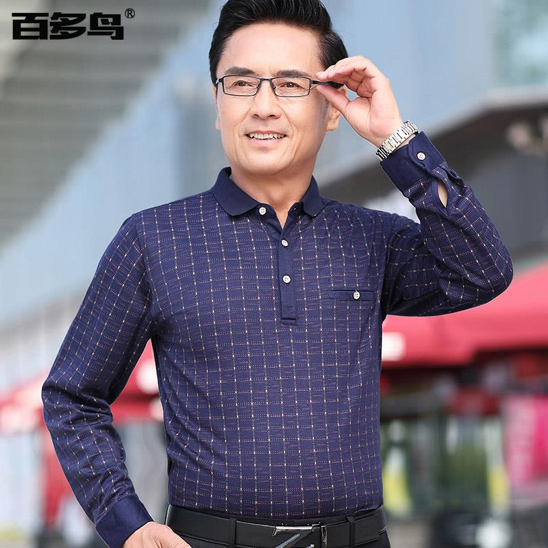 Dad cotton long sleeve t-shirt mens 40-50 years old autumn Plaid loose clothes middle-aged mens casual polo shirt