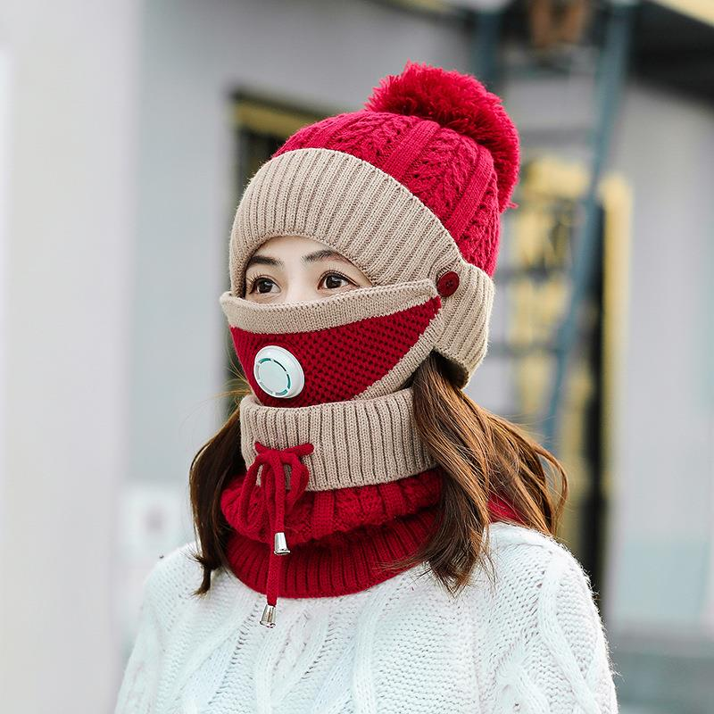 Hat girl autumn and winter Korean fashion cycling Plush warm fashion versatile winter ear protection knitted wool hat mask