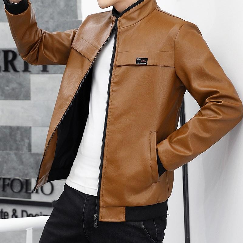 真皮皮衣男秋冬季时尚立领机车夹克帅气男装修身韩版青年男士外套