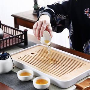 家用储水迷你现代功夫茶具茶盘简约密胺泡茶台圆形干竹制小茶托盘