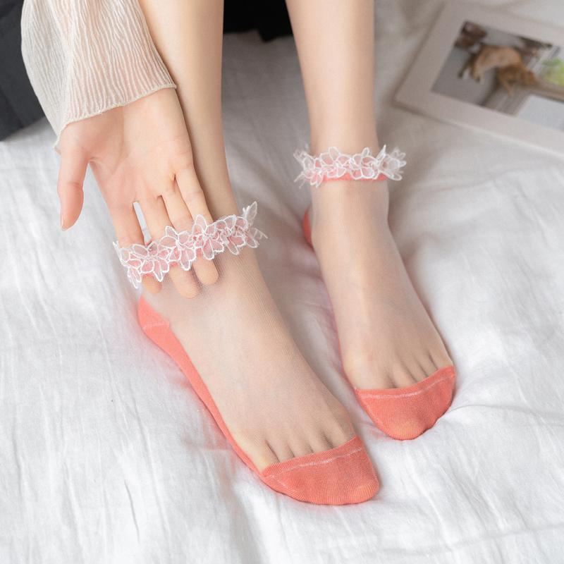 歌希琳袜子女蕾丝袜花边网红水晶短袜浅口夏季薄款透明春秋款网纱