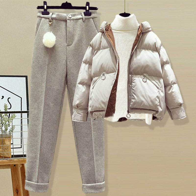 Single / suit winter hooded cotton padded jacket with high collar bottomed sweater womens tweed casual pants three piece set