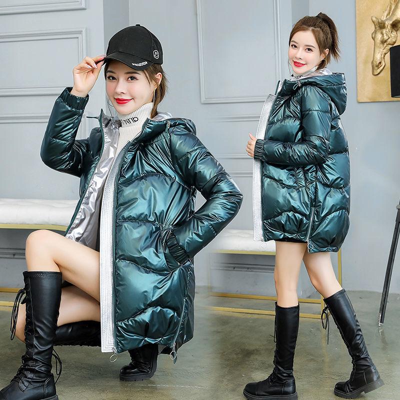 悟江南亮面棉服2021韩版棉衣女中长款冬季宽松加厚连帽羽绒棉外套