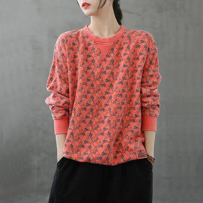 Wu Jiangnan autumn new all-match retro floral pullover long-sleeved sweater women loose and thin plus size top