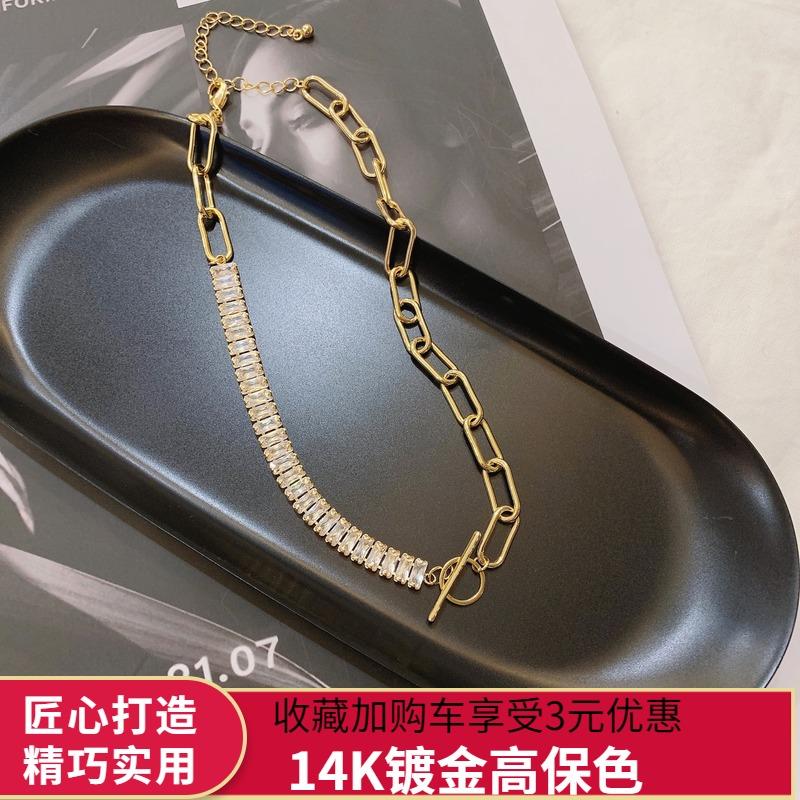 韩国新款14k注金保色亮钻粗链个性时尚锁骨链百搭毛衣链短款项链