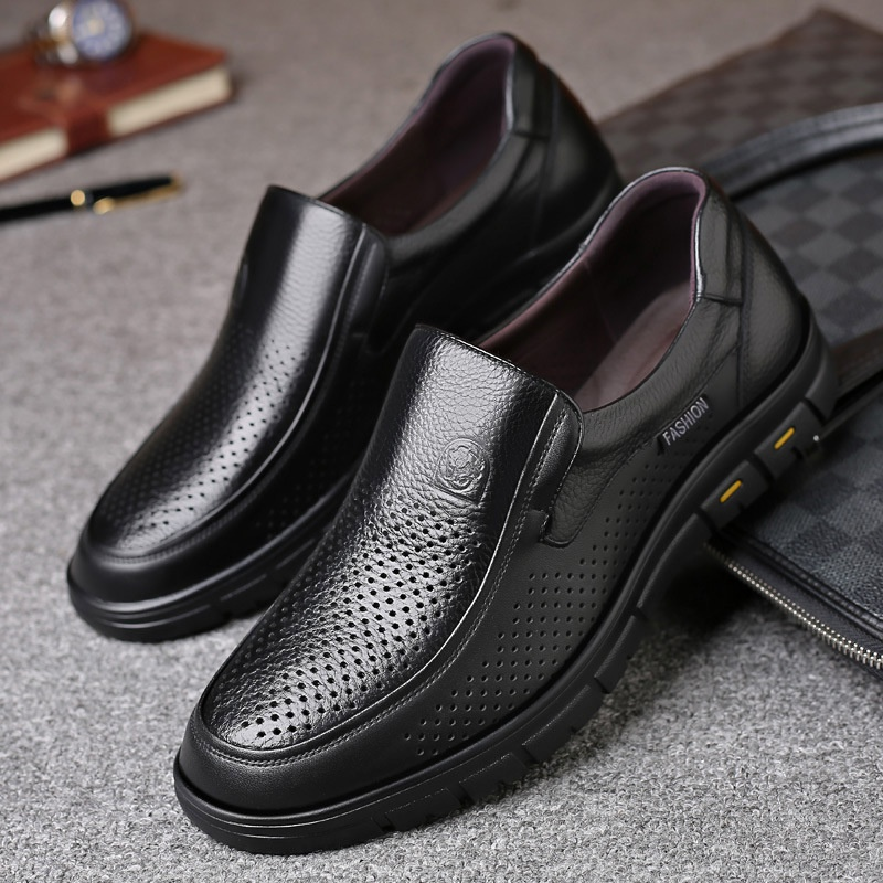 Next season leisure building empty leather shoes mens villa hole shoes overshoot pure leather sandals leather middle-aged and elderly perforated mesh mens shoes