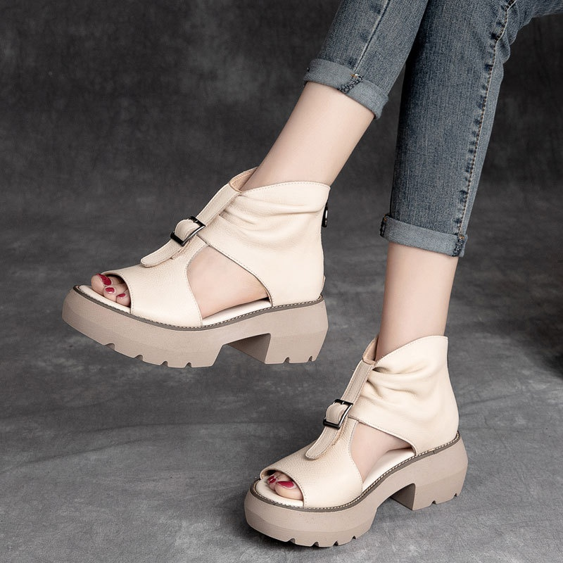 Roman handmade sandals personality retro thick heel cow leather thick bottom high top shoes back zipper bag heel belt buckle womens sandals