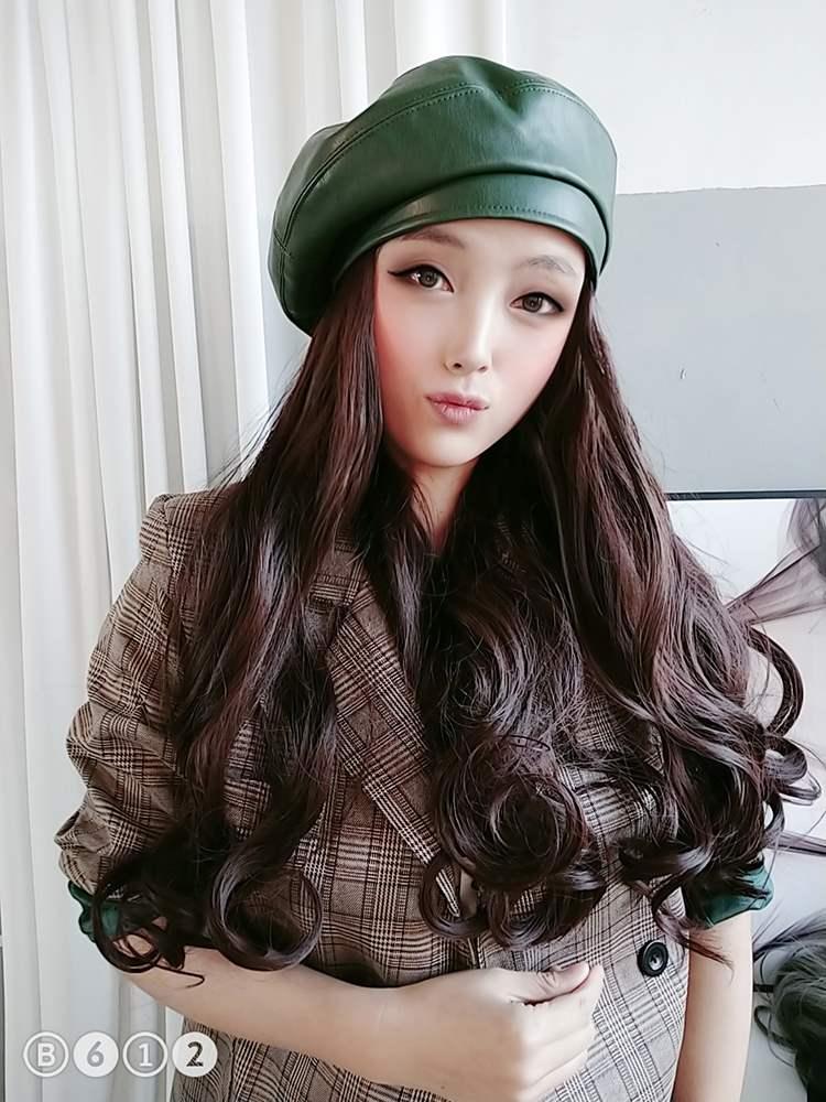 贝雷帽子女春秋假发帽可拆卸大波浪长发羊毛卷一体大头围时尚蓓蕾