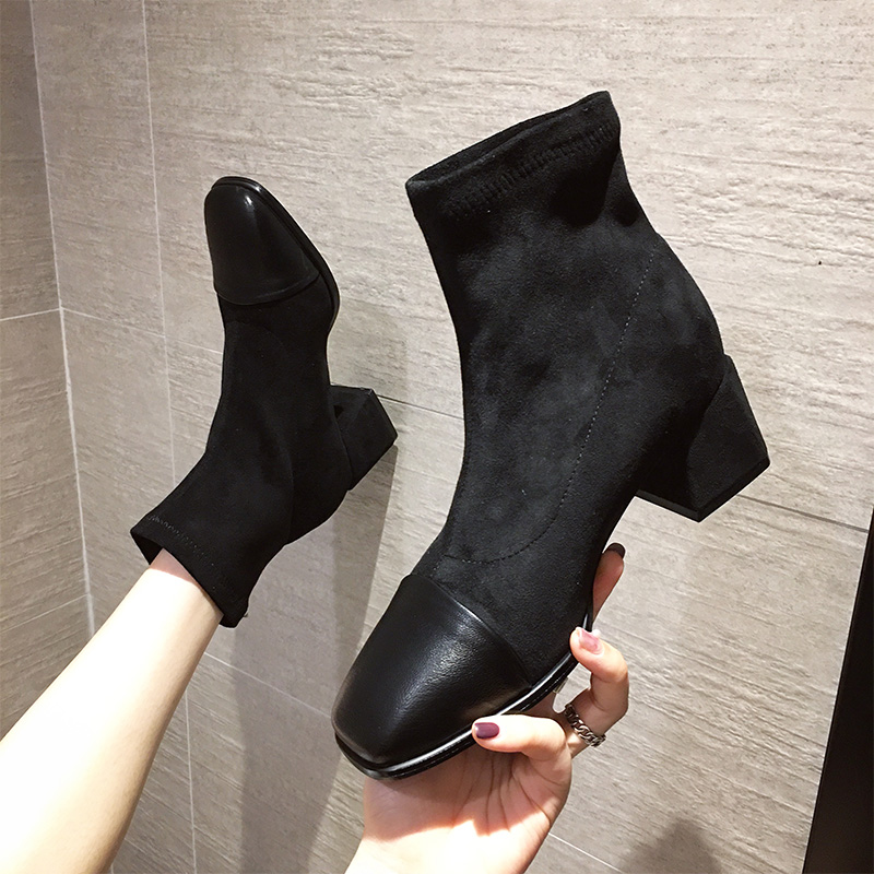 Autumn 2020 new short boots womens Korean online Red versatile thin boots square toe thick heel fashionable elastic Martin boots