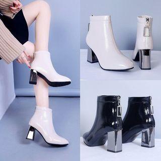粗跟短靴子女士鞋子秋冬款冬季加绒短筒半跟瘦瘦靴皮鞋中跟
