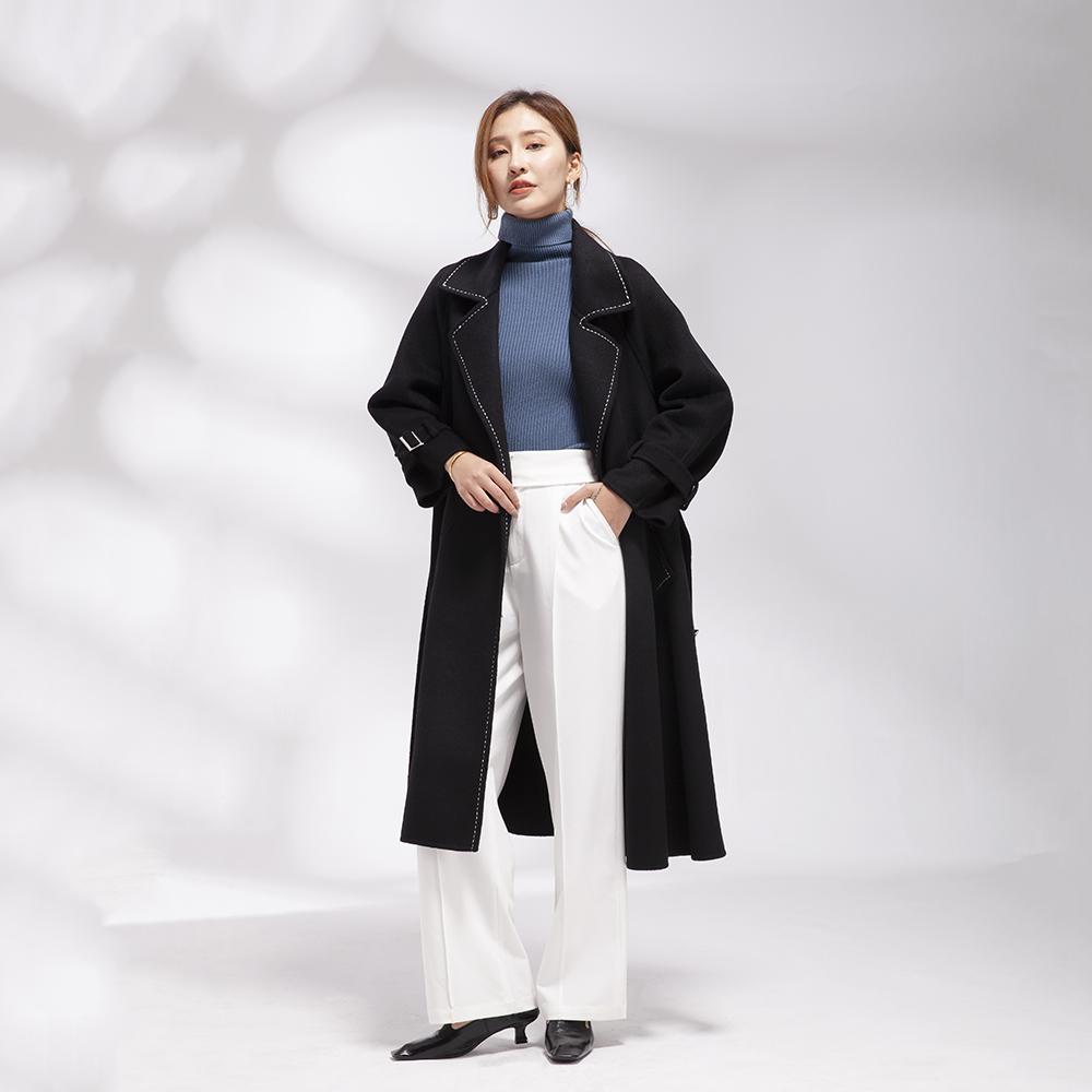 羊毛呢外套女韩版宽松系带2020年秋冬双面呢大衣女中长款羊毛大衣