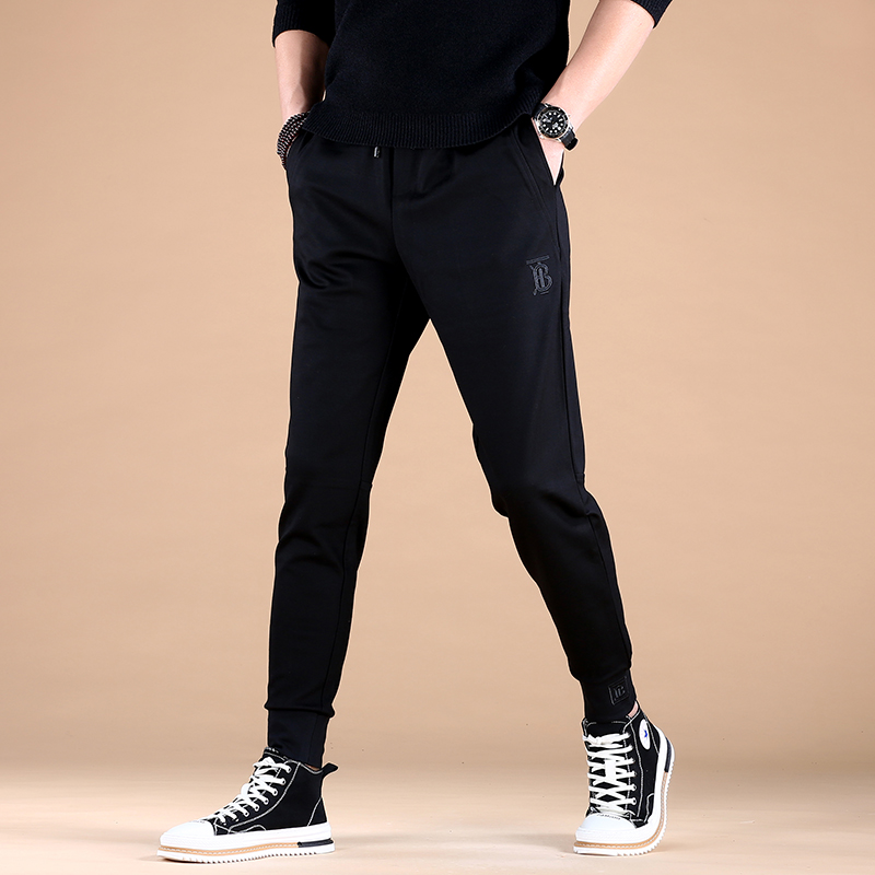 Loose fashion sports casual pants mens Korean version spring and autumn versatile slim fit thick pants elastic mens foot band