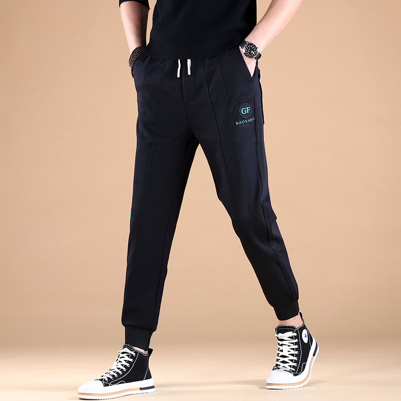 Legged pants spring and autumn new casual pants slim fit nine point guard pants 2021 elastic mens sports thin style Korean Trend