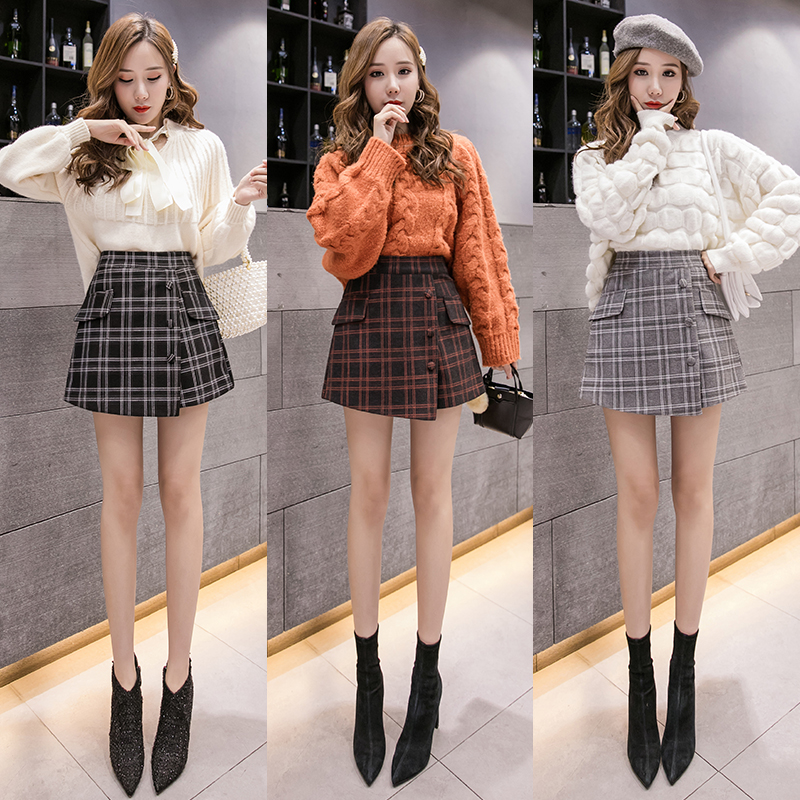 New Korean style elegant style woolen cloth slim fit Plaid high waist breasted design shorts wide leg pants in autumn and winter 2020