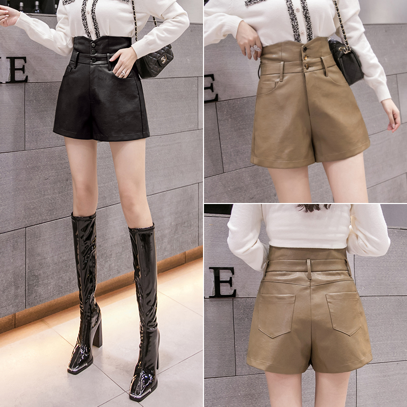 Autumn and winter 2020 new fashion elegant high waist slim waist waist buckle design Leather Pants Shorts Black Khaki