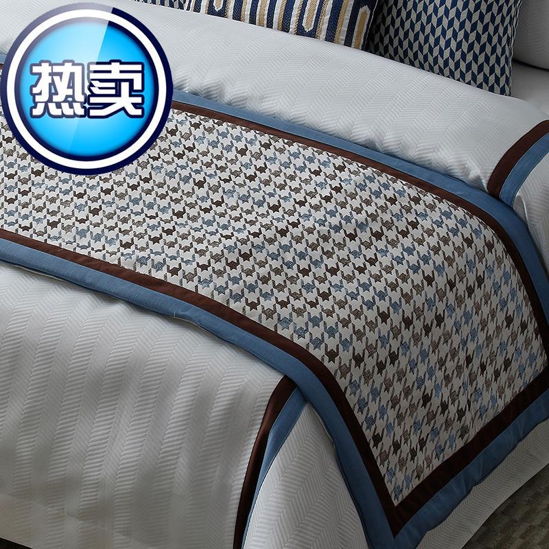 美式约蓝棕样板房间床上用品软装床品主卧室家e具陈设布艺软饰