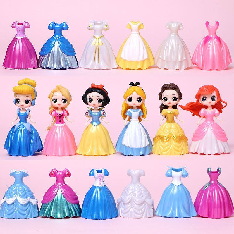 Snow White hand-made dress changing Mermaid Belle Cinderella Alice childrens toy decoration gift