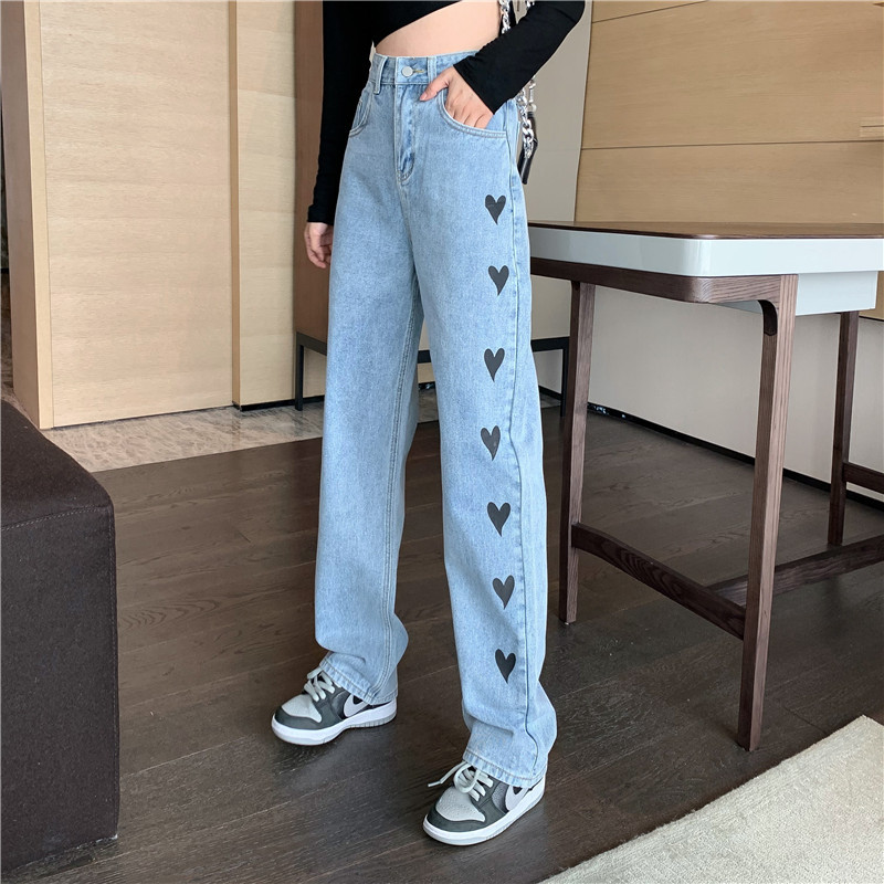 2021 new fashion love printing jeans womens autumn and winter new loose high waist pants
