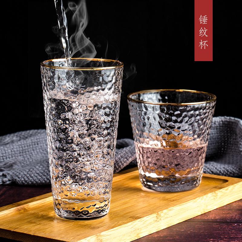 日式金边玻璃杯创意餐厅透明耐热水杯套装家用锤纹杯子果汁饮品杯图片