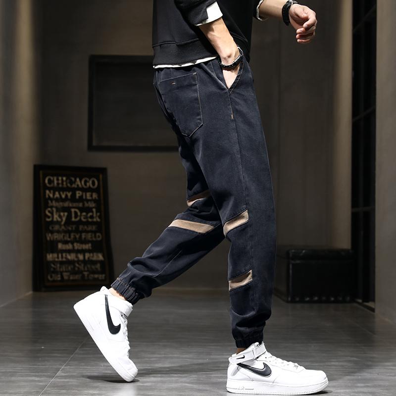 夏季男士薄款哈伦裤潮牌松紧绳裤子男束脚拼接牛仔裤男新款长裤腰