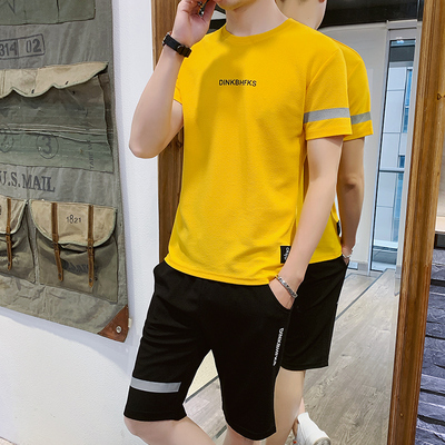 Mens leisure sports suit fitness short sleeve shorts Capris quick drying and breathable leisure trend in 2020 summer