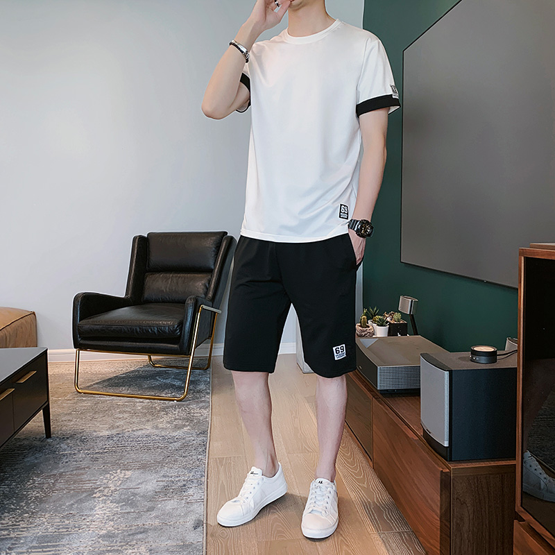 2020 summer new mens casual sports suit Korean trend with handsome short sleeve two piece quick drying set