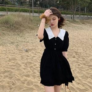 大码赫本风小黑裙夏胖mm遮肚子显瘦连衣裙女洋气裙子仙女超仙森系