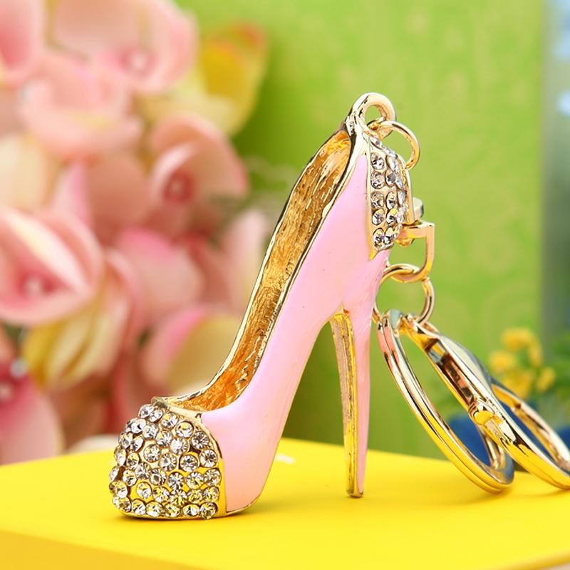 Girl Heart Rhinestone high heels car key chain female Korean lovely creative bag pendant key chain ring small gift