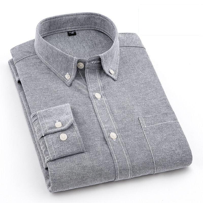 Summer cotton Oxford long sleeved shirt mens White Shirt Youth Korean slim fit base casual trend men