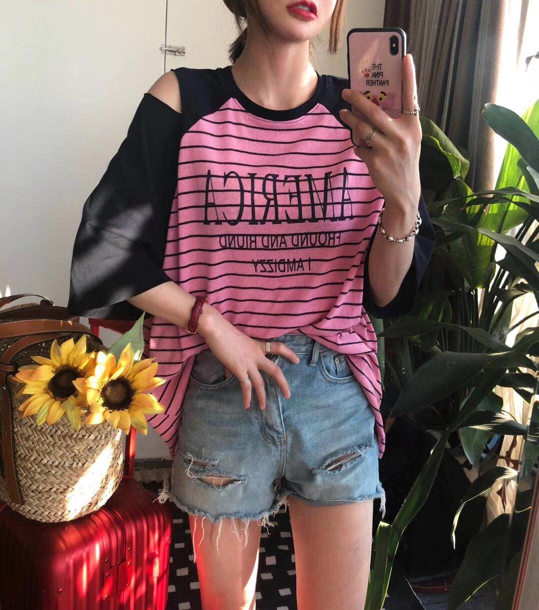 欧洲站时尚百搭条纹短袖女 2018春季新款韩版宽松上衣bf中长款T恤