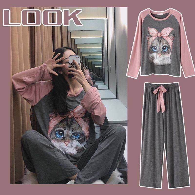 005#2021年韓版秋季睡衣女長袖可愛網紅爆款可外穿家居服兩件套裝
